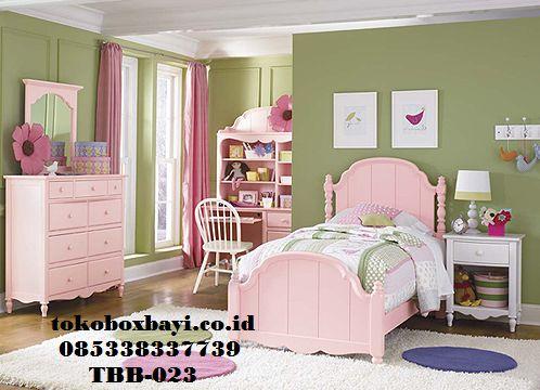 Set Kamar Anak Perempuan Pink Klasik kamar Anak Cewek Manis Model Modern MInimalis Tempt Tidur dan Meja Belajar 1 set full Harga Murah