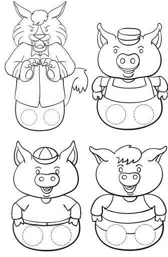 Marionnettes pour les trois petits cochons