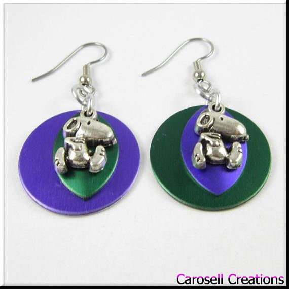 Chainmaille Scalemaille Round Purple and Green Snoopy Charm Earrings TAGS - Jewelry, Earrings, Dangle earrings, Drop Earrings, carosell creations, round earrings, aluminum earrings, scale maille, scalemail earrings, scalemaille earrings, charm earrings, guitar pick earrings, snoopy earrings, snoopy jewelry, snoopy gift, cartoon earrings, snoopy charms, etsy