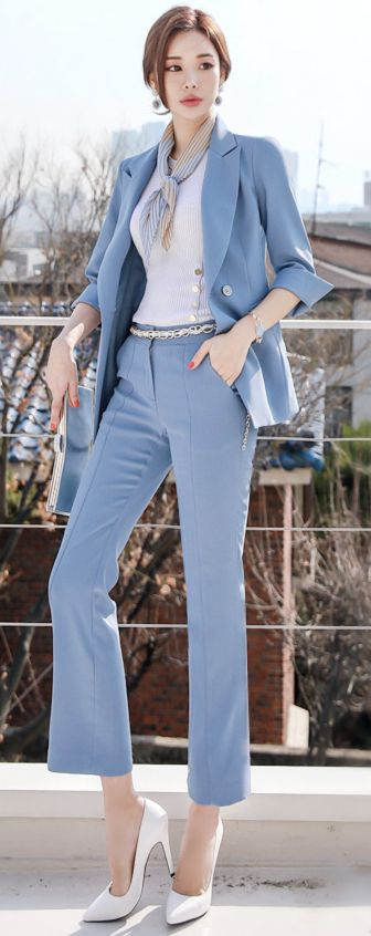 StyleOnme_Premium Boot-Cut Slacks #blue #bootcut #dresspants #slacks #koreanfashion #kstyle #kfashion #springtrend #dailylook