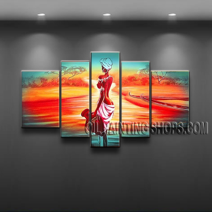 Large Modern Abstract Painting Oil Painting On Canvas For Bed Room Figure. This 5 panels canvas wall art is hand painted by Flora.Z, instock - $168. To see more, visit OilPaintingShops.com