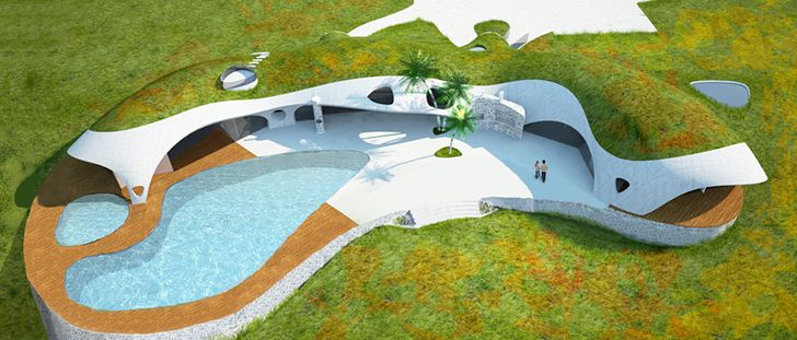 Colorful Binishell Dome Homes Made from Inflatable Concrete Co...