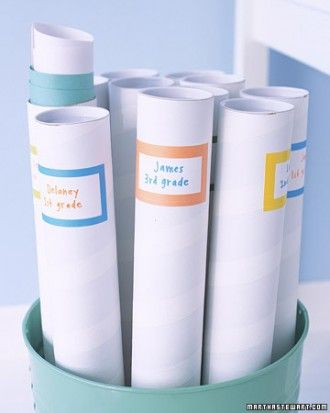 Art-Project Storage Rather than letting the works of art that don't make it onto a refrigerator door gather dust, devise a system of storing them. One good solution is to label mailing tubes, available at office-supply stores, by semester or year, and fill with rolled-up stacks of artwork.