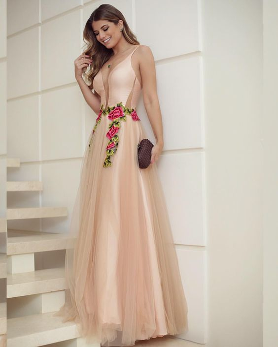 fd86605419 Plunging V Spaghetti Strap Floral Embroidered A-line Tulle Floor ...