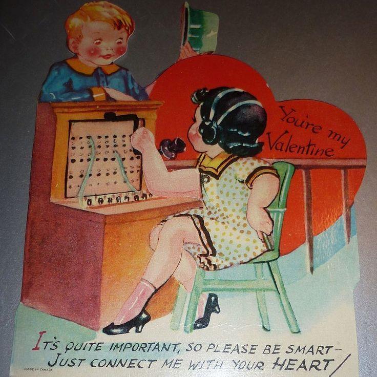 #1930's- Canada- Mechanical Valentine Card - Switchboard Operator