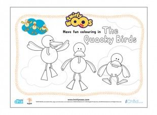 """Little ones will love colouring in this picture of the Quacky Birds. Then make them """"fly over the sea""""!"""