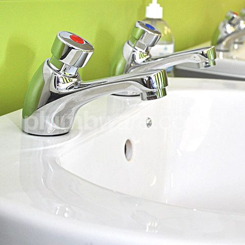 "Non-Concussive Taps. Pair of ½"" self-closing basin taps manufactured by Deva. Available from Plumbware.co.uk"