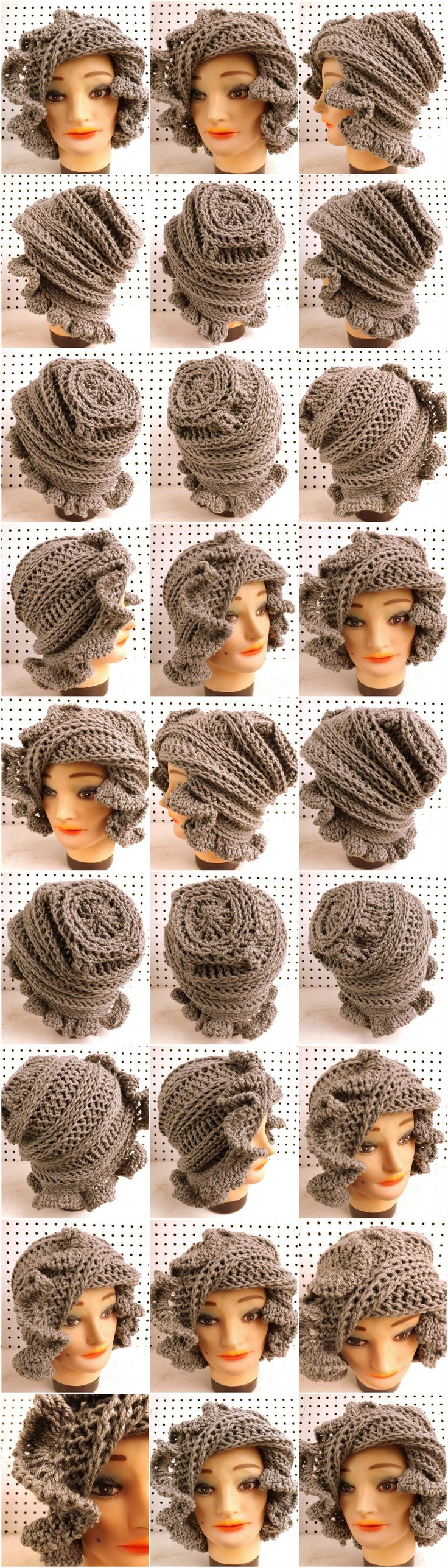 http://www.etsy.com/listing/173166417/unique-crochet-hats-for-women-slouchy?ref=shop_home_active CYNTHIA Crochet Beanie Hat in Gray Ruffles decorate around the edge to give a soft and romantic look.