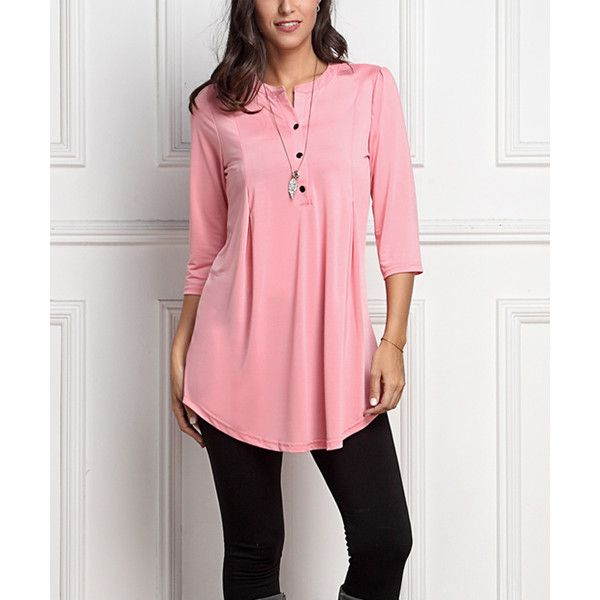 Reborn Collection Pink Notch Neck Button-Front Tunic ($35) ❤ liked on Polyvore featuring plus size women's fashion, plus size clothing, plus size tops, plus size tunics, plus size, button front tunic, red tunic, tall tops and long tops