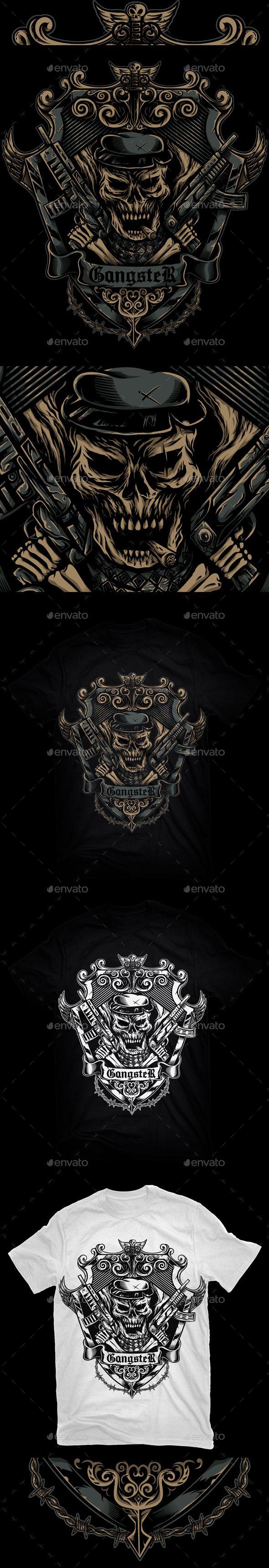 Black t shirt vector ai - Gangster T Shirt Vector Illustration Eps Ai Design Download Http