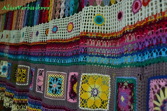 "Curtain. Curtains. cottage chic. Country style.Granny square. knitting. lace. Boho. ""Happy Squares 2"""