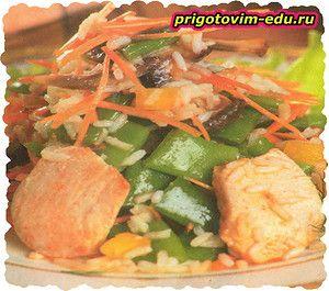 Рисовый салат с грибами и фасолью