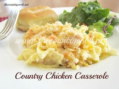 Country Chicken Noodle Casserole (egg noodles, canned chx, cr of chx, mayo, onion, shredded cheddar, frozen peas & carrots, panko bread crumbs, butteR)