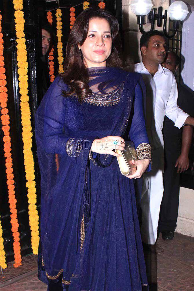 Neelam Kothari at Ekta Kapoor's Diwali bash. #Bollywood #Fashion #Style #Beauty #Hot #Ethnic