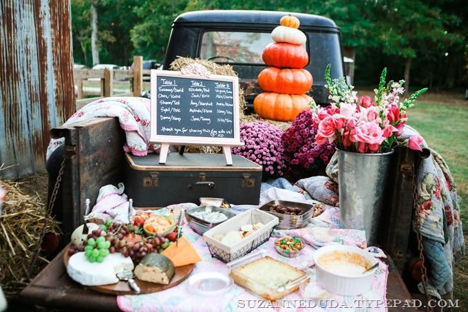 appetizers served from the tailgate of an old 1959 Chevrolet pickup truck #farm #wedding