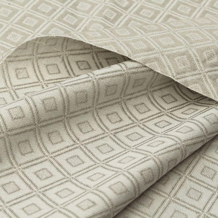 Organic semi-linen damask rhombus, natural, GOTS certified  #Schusse # Wefts