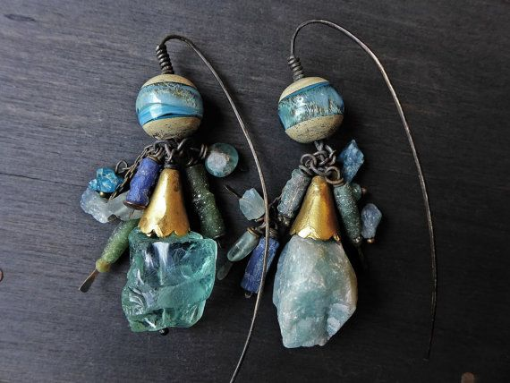"Fanciful Devices - Ancient Roman blue glass earrings - ""Light is in Both"""
