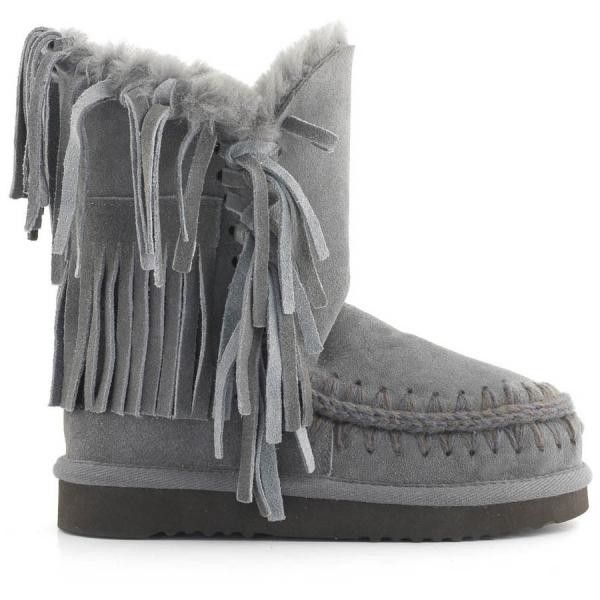 MOU Eskimo Fringe Short Boots Iron/Dark Brown Stitch - MOU