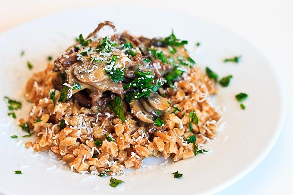 Can't get enough of Farro lately... Farro Recipe with Mushrooms, Fresh Parsley and Truffle Butter