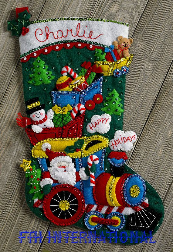 Bucilla Choo Choo Santa 18 Felt Christmas Stocking Kit