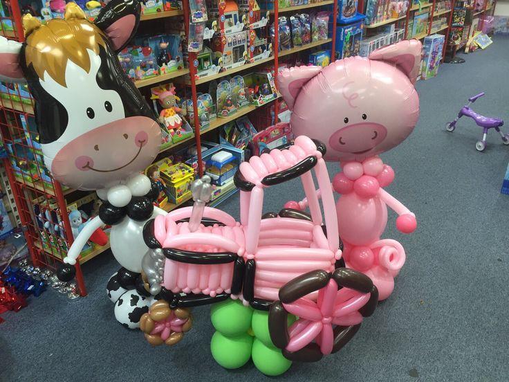 Farm theme balloons #cow#pig#tractor#bniballoonwolves