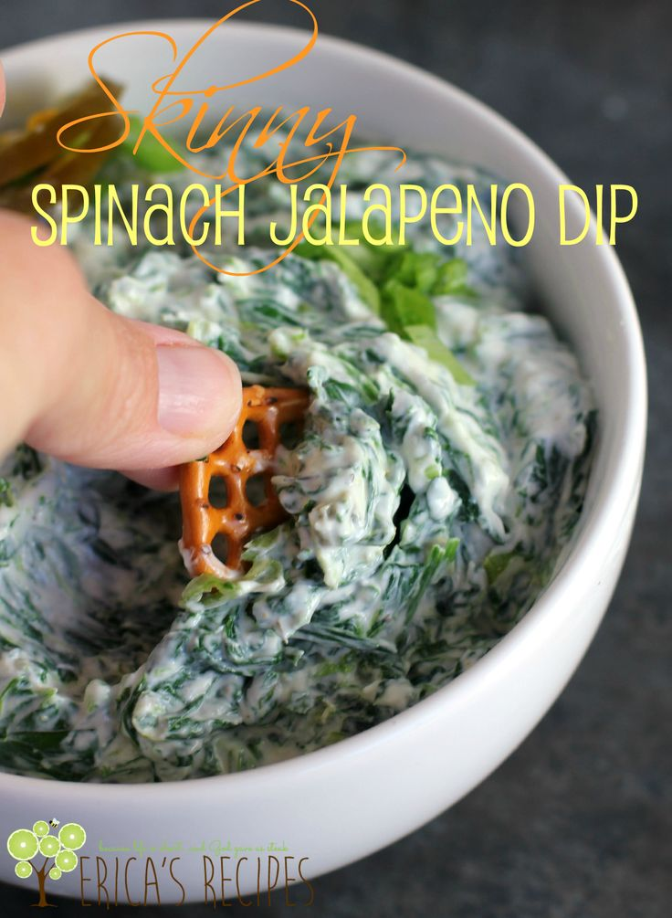 Skinny Spinach Jalapeno Dip. You'll never want traditional dip again. From EricasRecipes.com