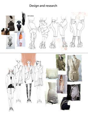 Fashion Portfolio - fashion design research with fashion illustrations & skirt development; fashion sketchbook // Ekaterina Gerasimova