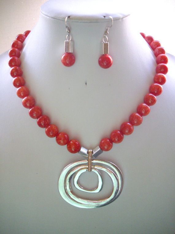 Coral Rainbow Jade Bead Necklace with Silver by DesignsbyPattiLynn, $60.00