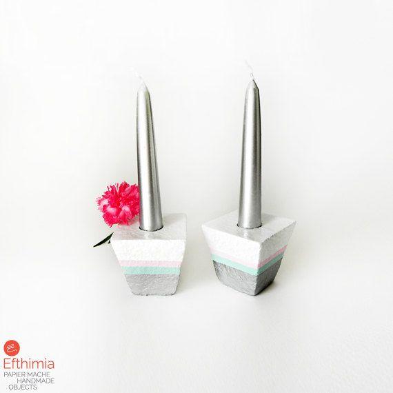 Candle holders papier mache minimal by EfthimiaPapierMache on Etsy