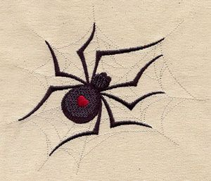Get bitten by the love bug! A black widow spider with a flirty heart-shaped mark spins a delicate web.