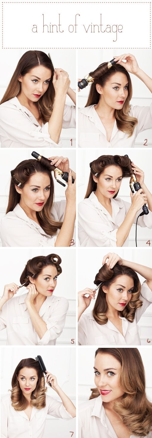 INSTRUCTIONS:    1) Find your side part. Either side will do.    2, 3, 4  5) You鈥檙e going to curl ALL of your hair inward toward your face (as Lauren does above) and clip the curls in place with large setting clips. Mist all over with a light-medium holding hairspray. Let them cool while you put on your makeup. Multi-Tasking!! Give it atleast 15 minutes to cool and set.    6) Gently pull the c...