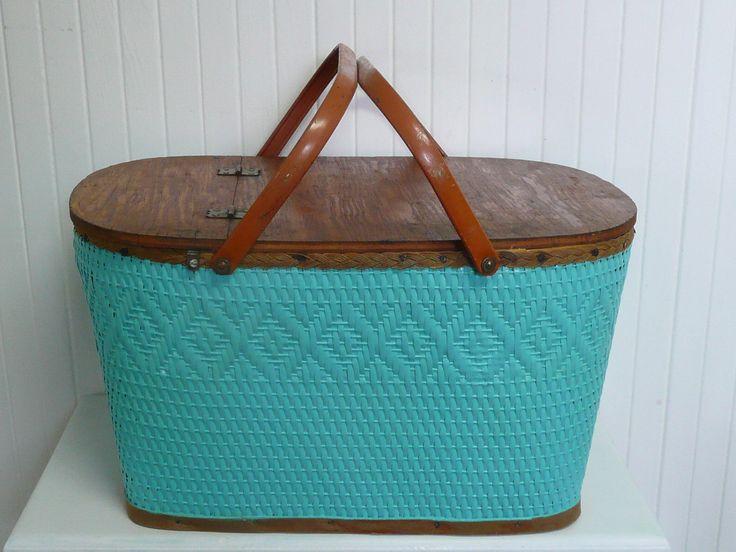 1950s Redmon Woven Picnic Basket, Storage Basket, Metal Handles, Turquoise - Vintage Travel Trailer Decor. $65.00, via Etsy.