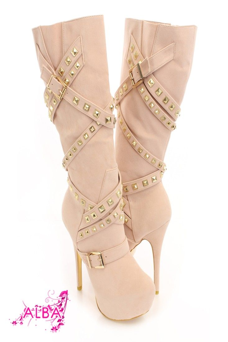 You will be head over heels for these saucy little numbers! They will perfectly compliment any outfit for any occasion! Make sure to add these to your collection, they definitely are a must have! The features for these boots include a faux suede upper with a wrap around strappy design with pyramid studded detailing, buckle accents, stitched detailing, almond shaped closed toe, gold bottom soles, full inner side zipper closure, smooth lining, and cushioned footbed. Approximately 6 inch heels…