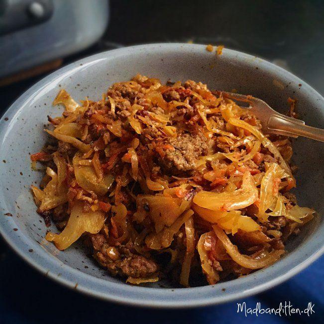 Karameliseret hvidkål med spicy oksekød