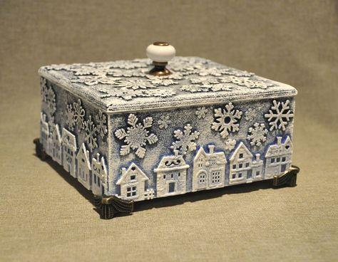 Хочу предложить вам очень простой и быстрый вариант декора короба для подарка. Хотя таким же способом можно задекорировать ёлочные шары или вообще всё, что угодно.Моя работа началась с того, что я увидела в продаже набор маленьких фанерных домиков. И так как домики я люблю в любом виде, то пройти мимо я не могла. И сразу же решила, что домики будут украшать небольшую коробочку, которая, по-счастью, у меня была.