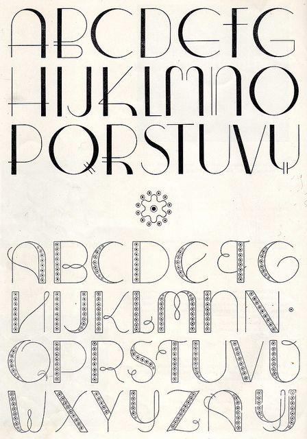 Art Deco Embroidery monogram patterns from 1950 by Vakuoli, via Flickr