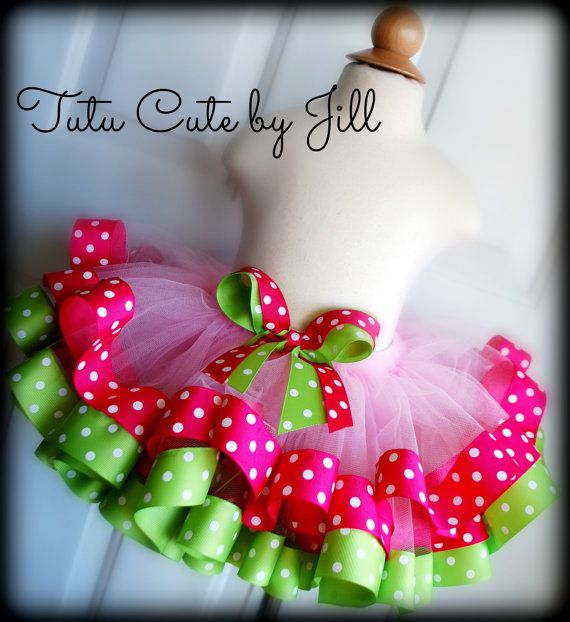 SEWN Light Pink Tutu Trimmed in Hot Pink Fuchsia and Lime Green Polka Dot Ribbon. By Tutu Cute By Jill on Etsy. $50.00