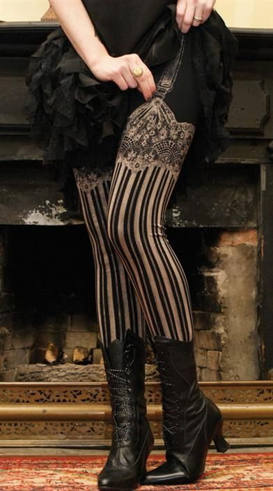 Faux garters and lace stockings are printed onto soft leggings...for peeking beneath petticoats!