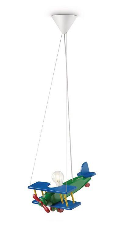 Lámpara colgante de techo avión madera azul y verde.