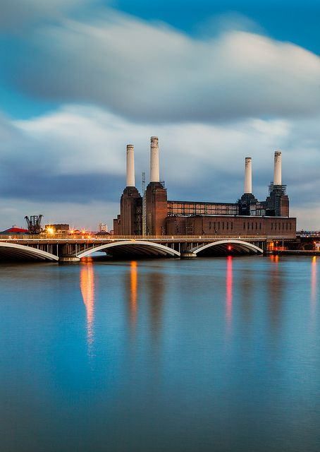 Grosvenor Bridge and Battersea Power Station, London
