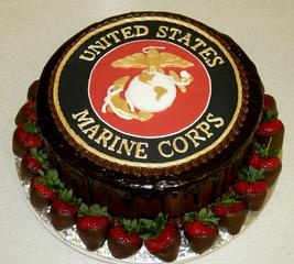 Groom's cake - cheesecake-  USMC - Marine Corps - military emblem