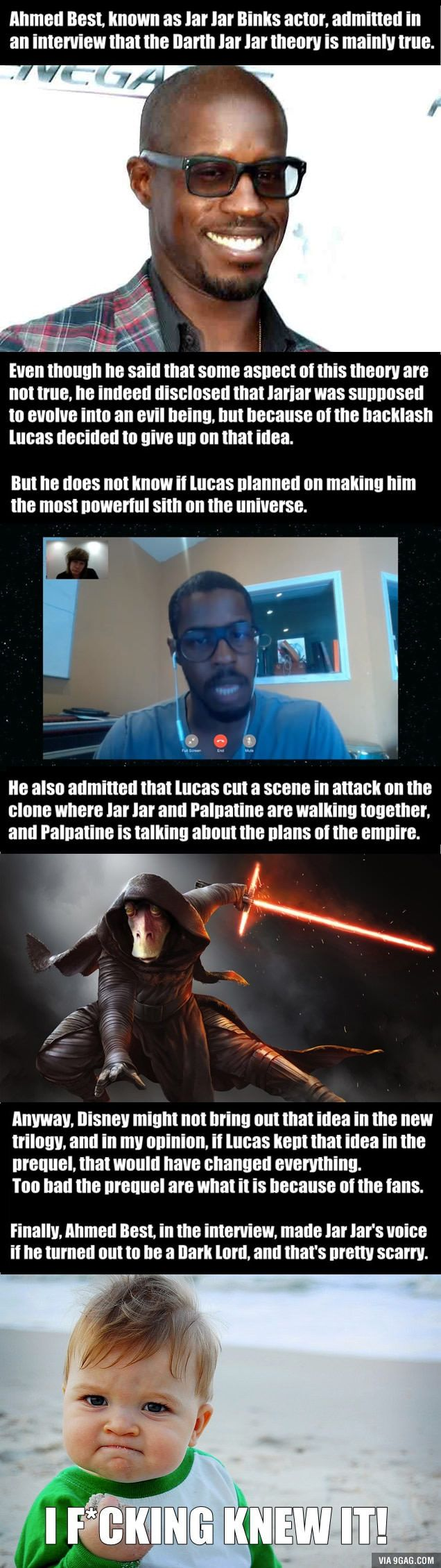 Ahmed Best (Jar Jar Binks) admitted that the Darth Jar Jar theory is mainly true! - 9GAG