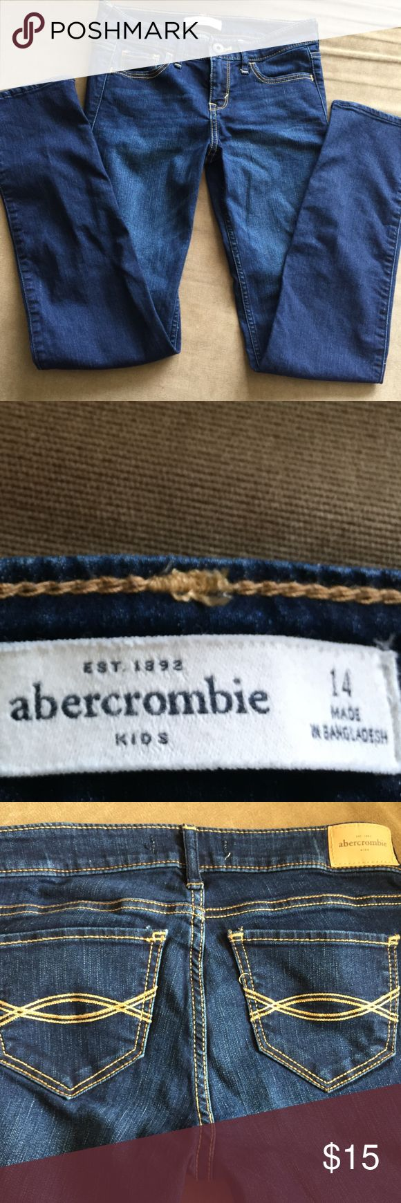 Abercrombie Girls Jeans Size 14 Abercrombie Girls Jeans Size 14  My daughter wore them twice. Perfect condition. No Fading, marks or Tares.  Pretty Cute! Abercombie Kids Jeans Skinny