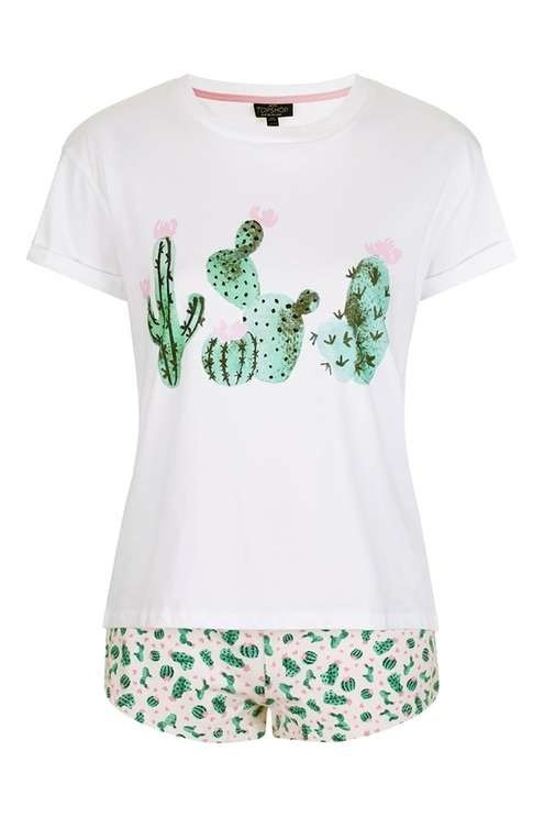 This cactus PJ set (cuz you prickly in the morning) — $40 | 17 Comfy Summer Pajamas For When You're Feeling Lazy As Hell