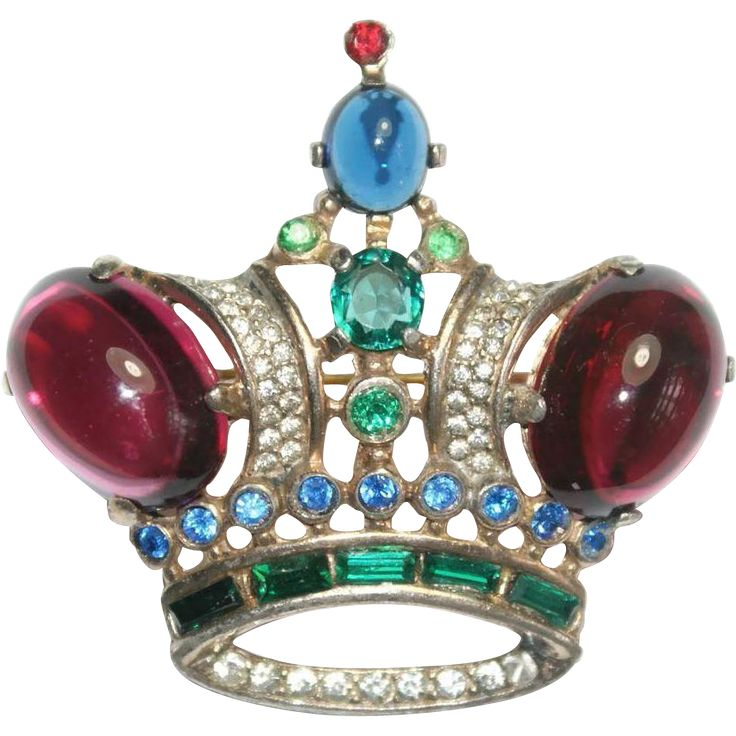 Sold - Trifari Sterling King Crown Pin Brooch 1940s Bk Pc Ad Pc