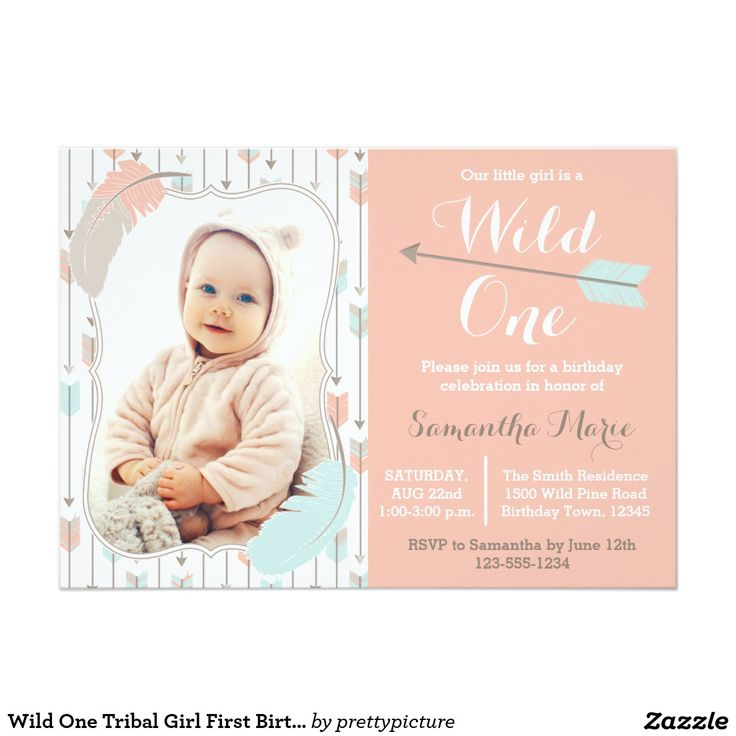 first birthday invitation wordings india%0A Wild One Tribal Girl First Birthday Pink Photo Card