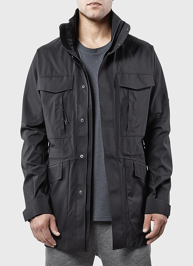 Isaora 3L M65 Tech Shell | Inspired by the classic M-65 military field jacket, this stretch shell features 3-layer construction to keep you warm and dry. It has DWR-coated nylon on the outside with a waterproof, breathable inner membrane, and soft-touch tricot lining for comfort. $445