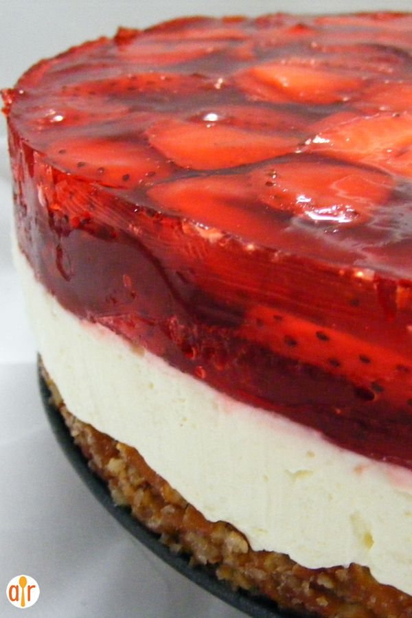 "Judy's Strawberry Pretzel Salad | ""This three-layer salad includes a pretzel crust, cream cheese center, and strawberry top."""