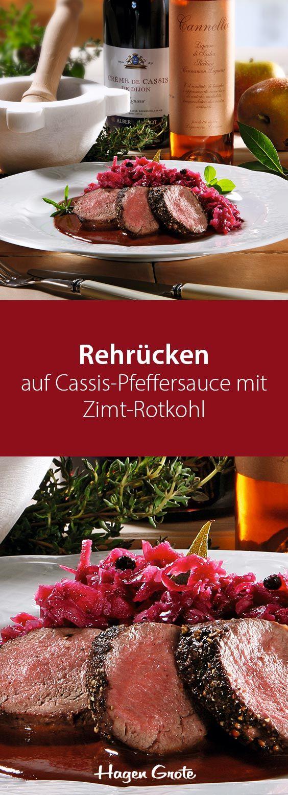 Rehrücken auf Cassis-Pfeffersauce mit Zimt-Rotkohl