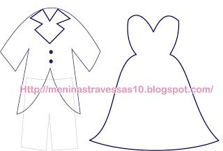 Artigianato in feltro   Ragazze Sleepers  : Template sposi vestito
